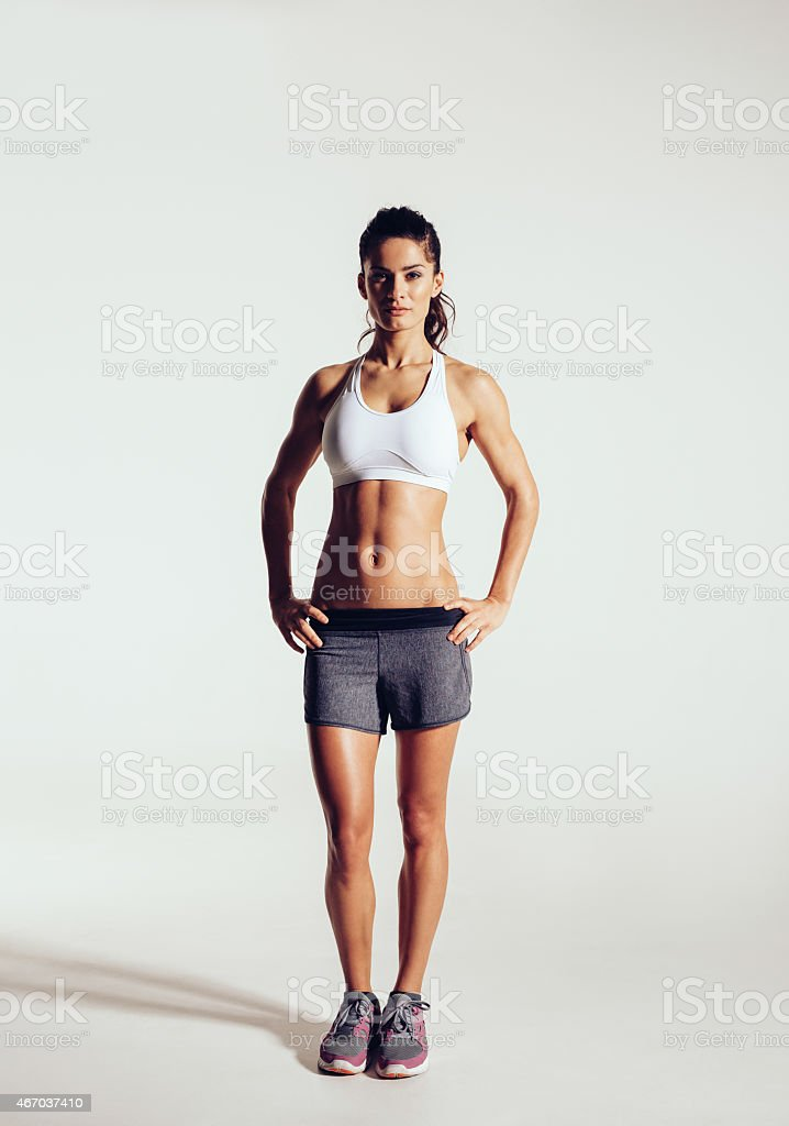 Young woman with beautiful slim healthy body stock photo