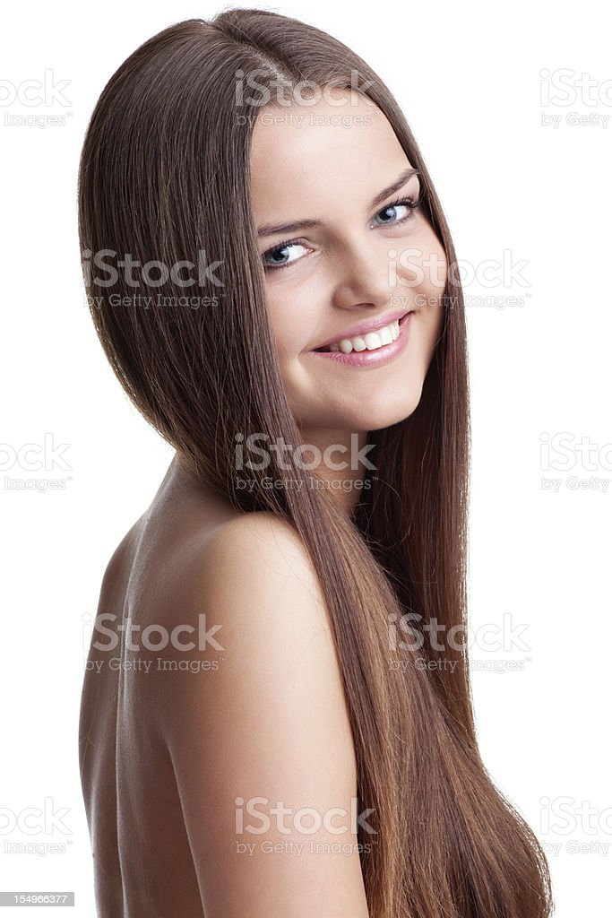 Young woman with beautifully long hair royalty-free stock photo