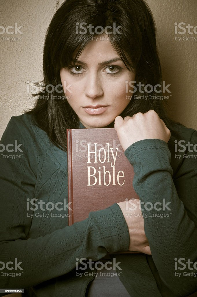 Young Woman with Bible royalty-free stock photo