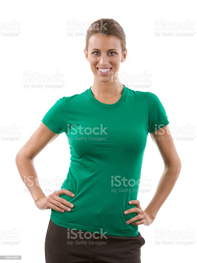 Young woman with blank green shirt stock photo