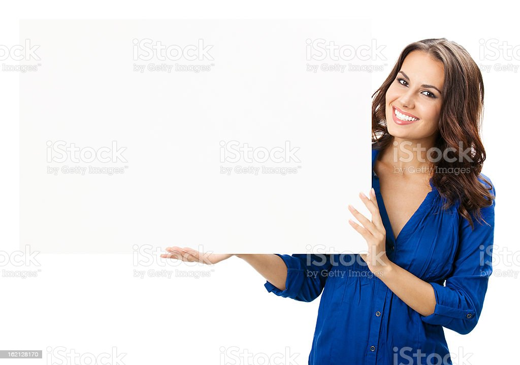 Young woman with blank signboard, on white stock photo