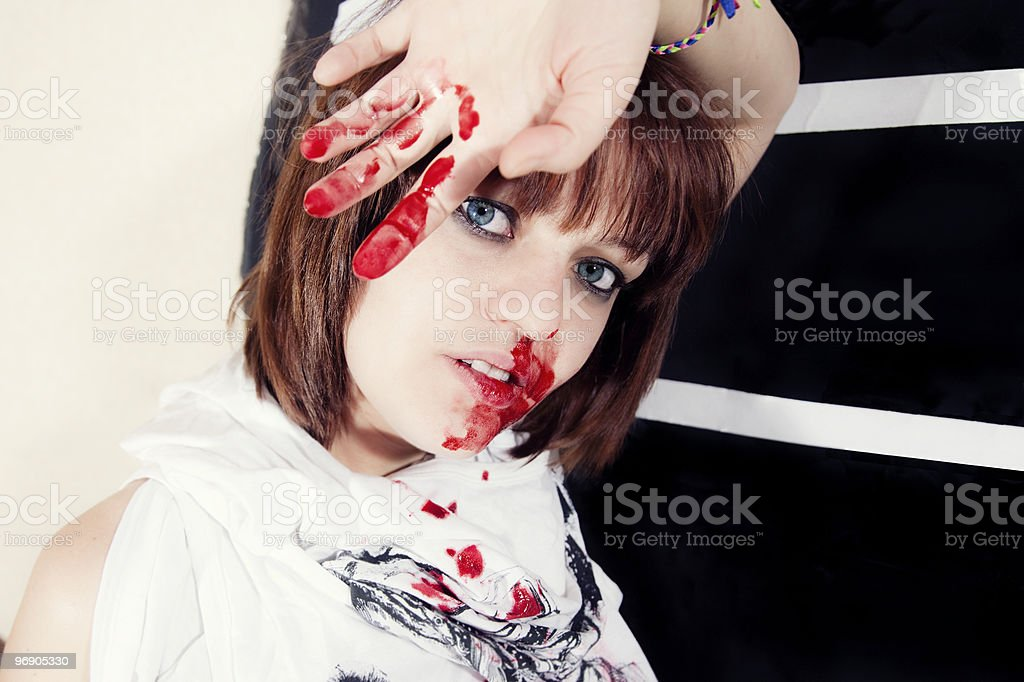 young woman with bloody face royalty-free stock photo