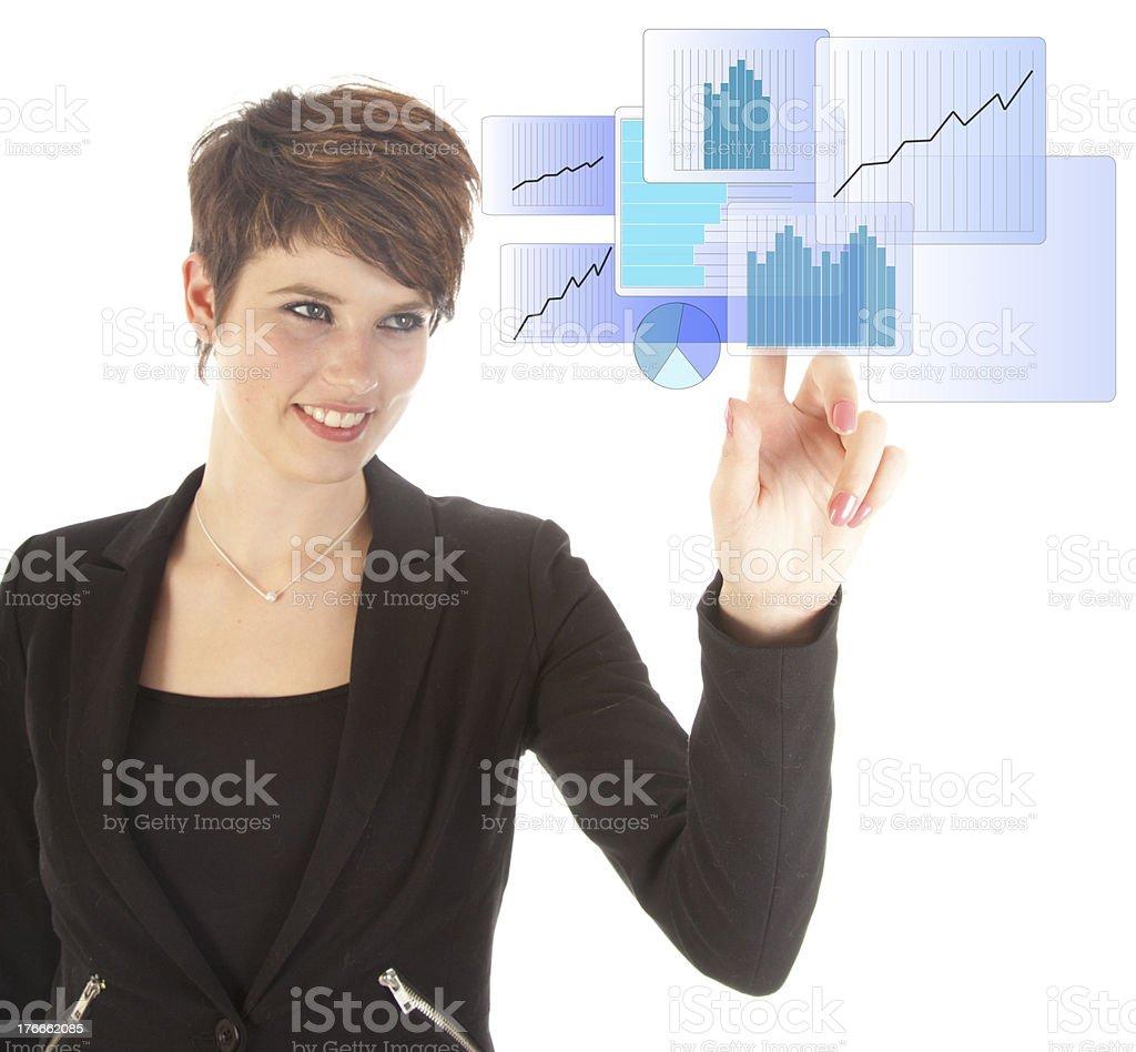 Mujer joven con azul gráfico virtual aislado sobre fondo blanco foto de stock libre de derechos