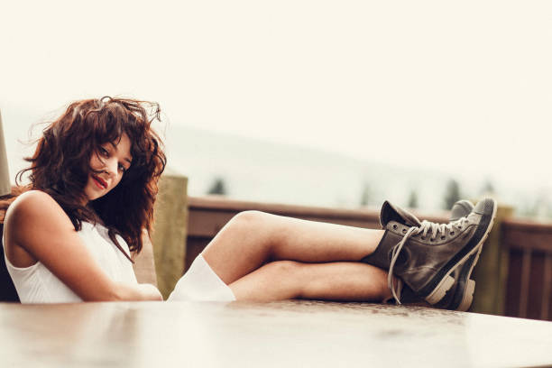 Young Woman With Boots stock photo