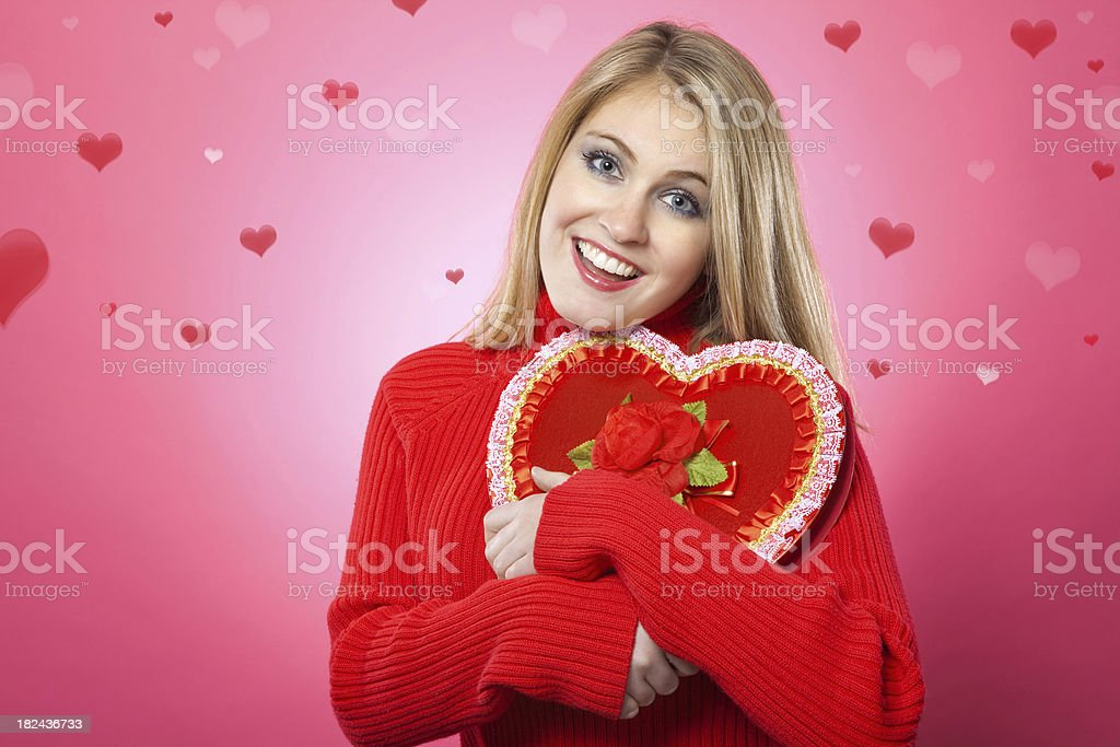Young Woman with Box of Valentines Day Candy royalty-free stock photo