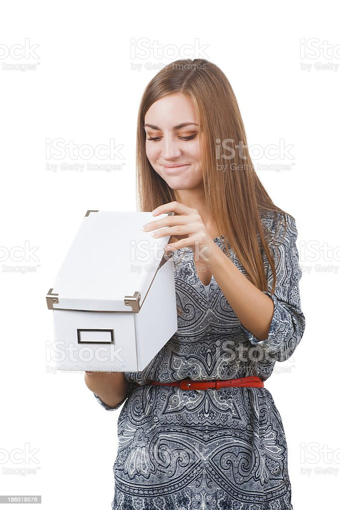 Young woman with box royalty-free stock photo