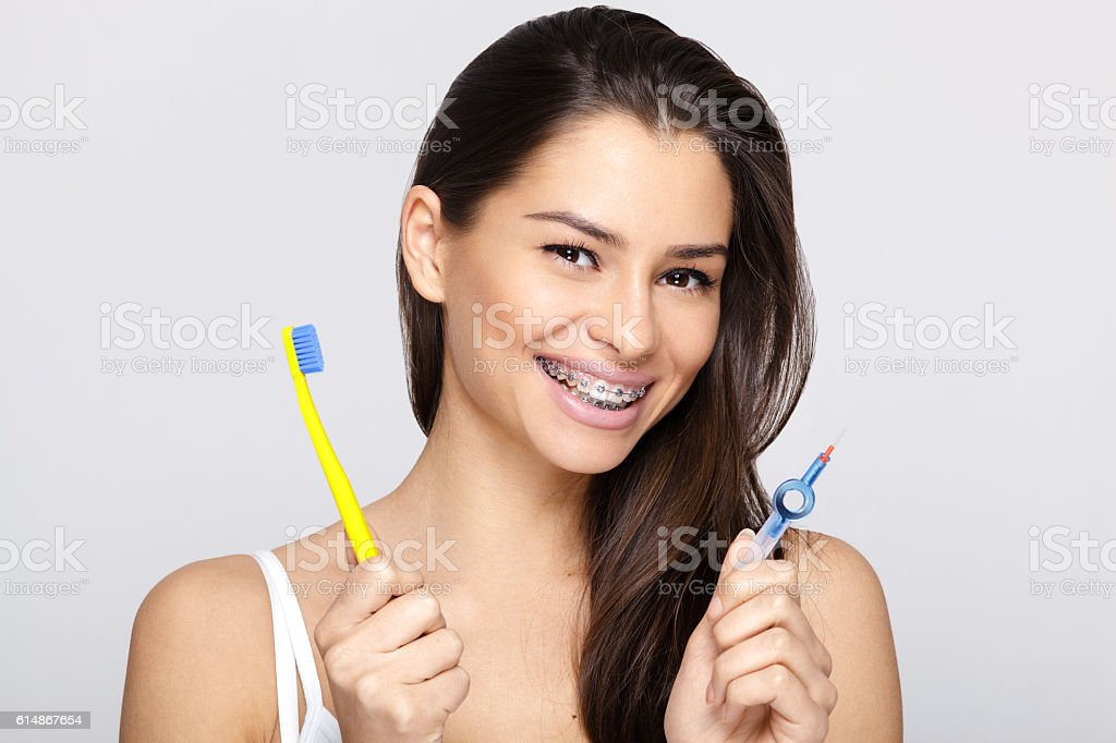 Young woman with braces stock photo