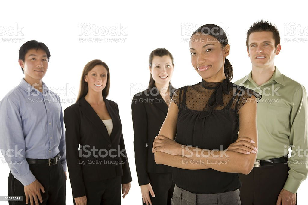 Young woman with business team royalty-free stock photo