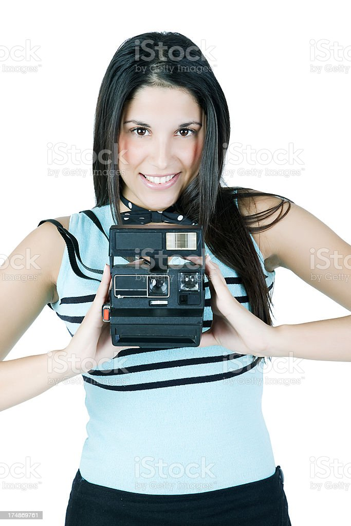 Young Woman with Camera royalty-free stock photo