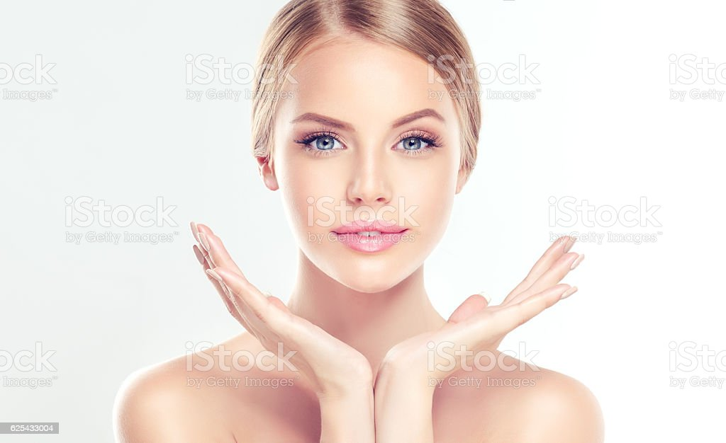 Young Woman with clean, fresh skin. stock photo