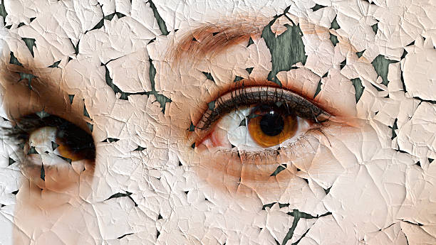 young woman with cracked face - dry stock pictures, royalty-free photos & images