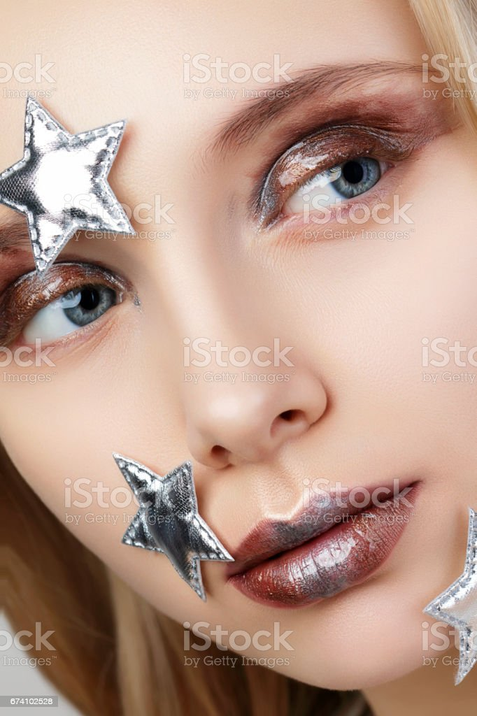Young woman with creative make up royalty-free stock photo