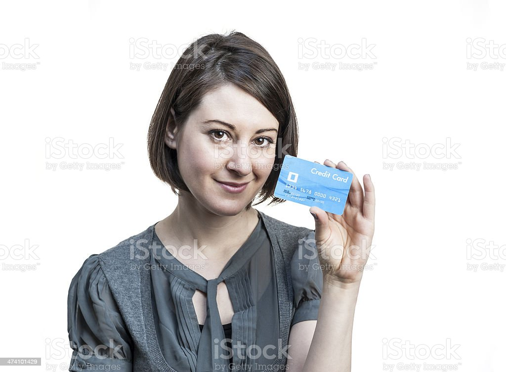 Young woman with credit card stock photo