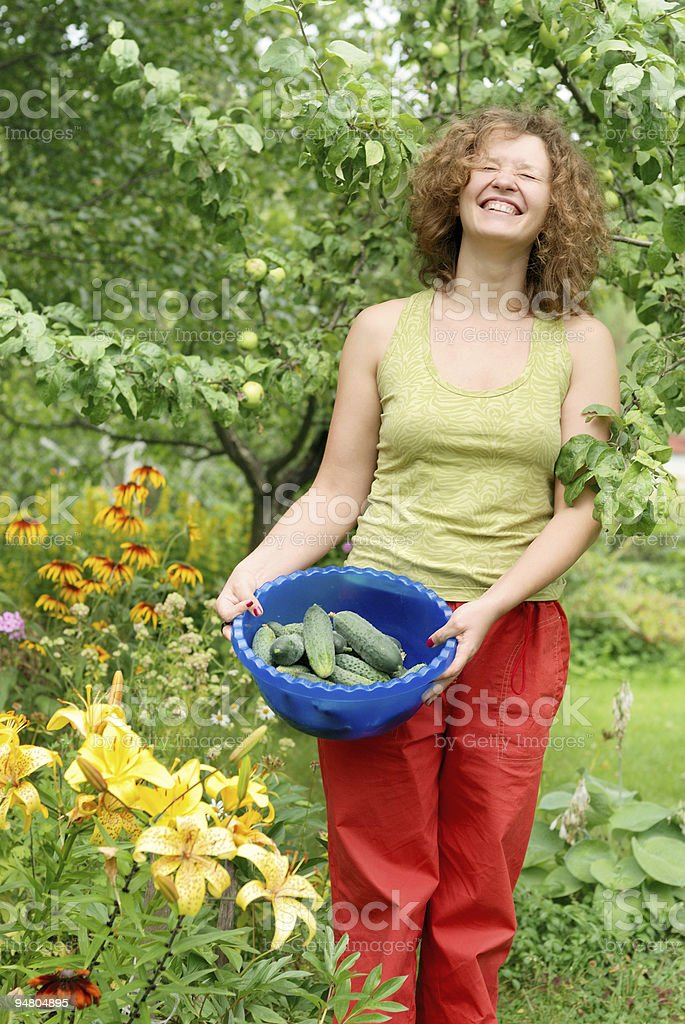 Young woman with crop of cucumbers stock photo