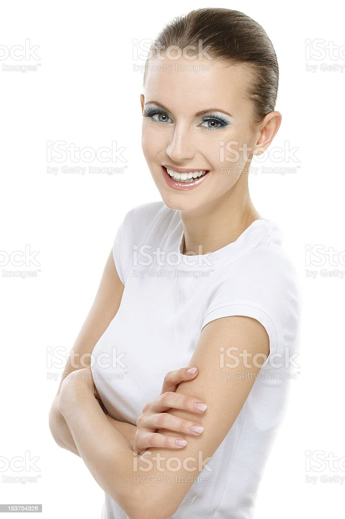 Young woman with crossed hands royalty-free stock photo
