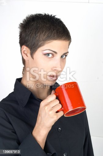 young woman with cup