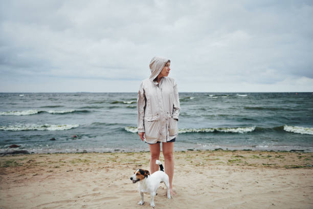 Young woman with dog looking away near sea stock photo