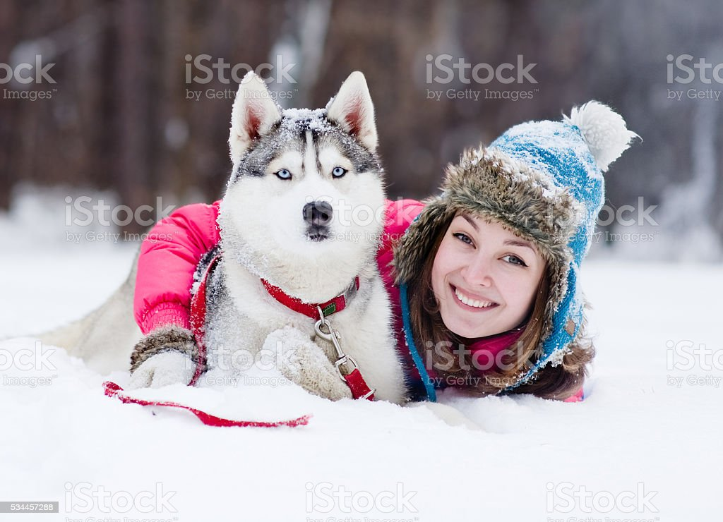 young woman with dog outdoor