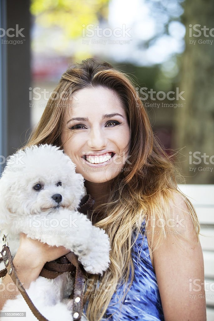 Young Woman with Dog royalty-free stock photo