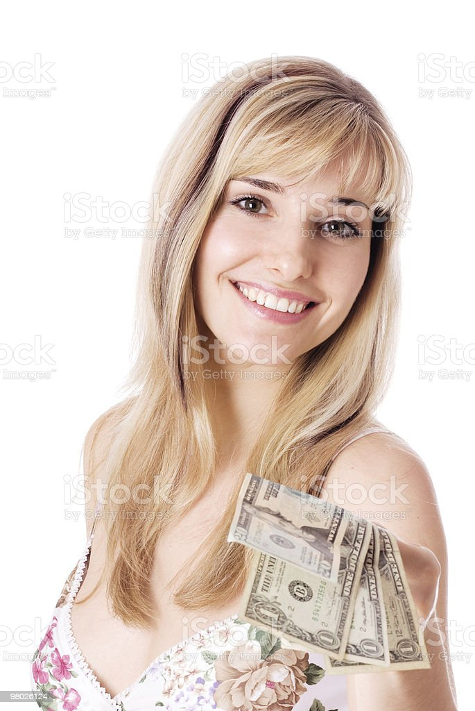Young woman with dollars. royalty-free stock photo