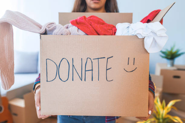 Young woman with donation box at home stock photo
