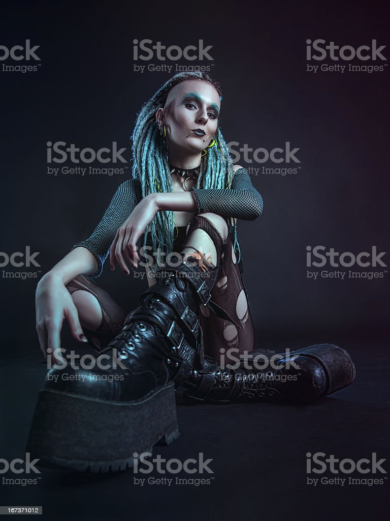 Young woman with dreadlocks royalty-free stock photo