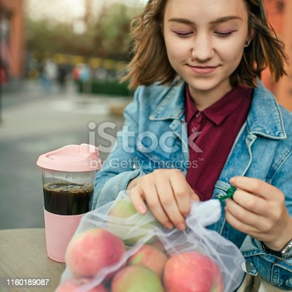 Woman shopping at a market in summer