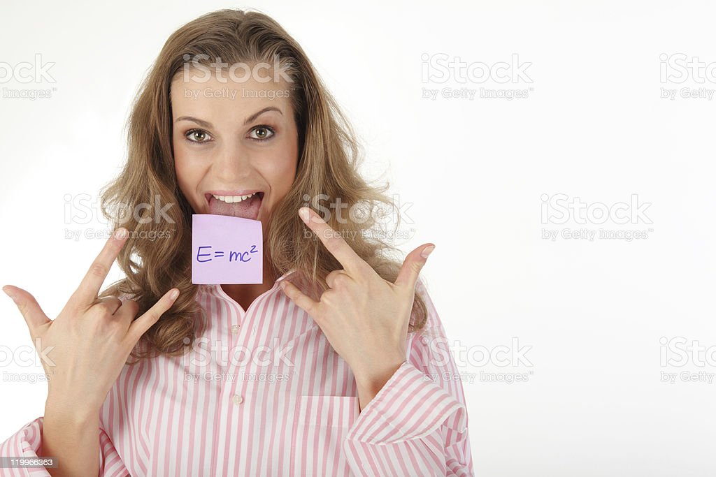 young woman with Einstein formula royalty-free stock photo