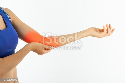 Young woman with elbow pain
