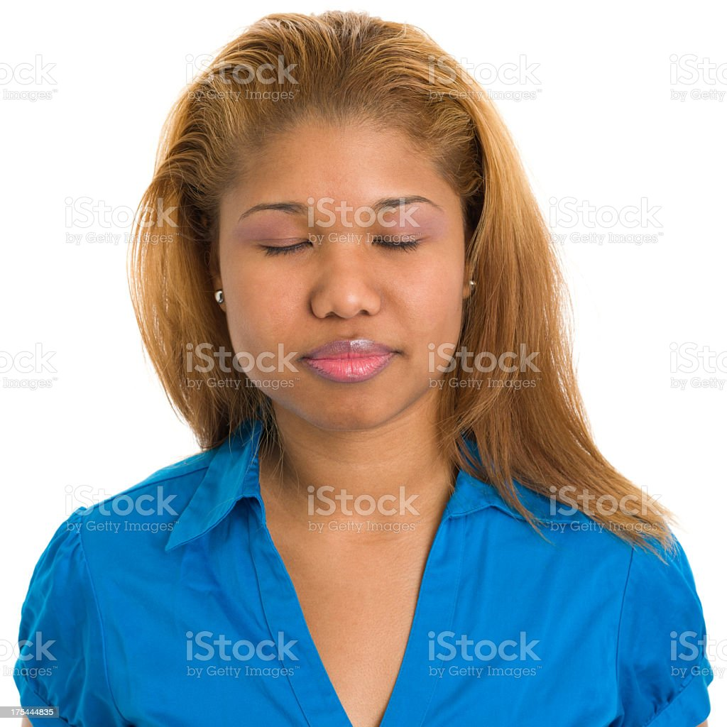 Young Woman With Eyes Closed royalty-free stock photo