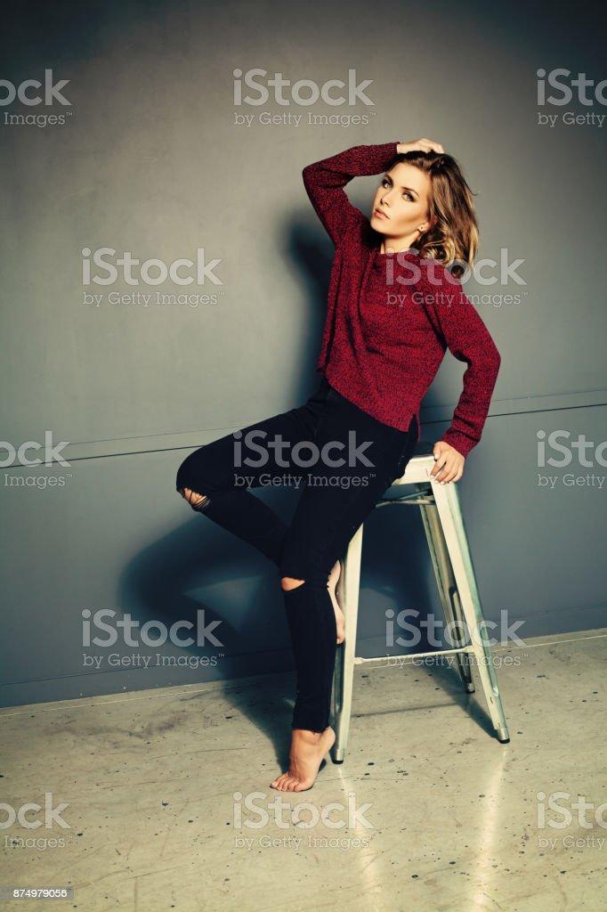 Young Woman with Fashion Hairstyle. Long Bob Haircut stock photo