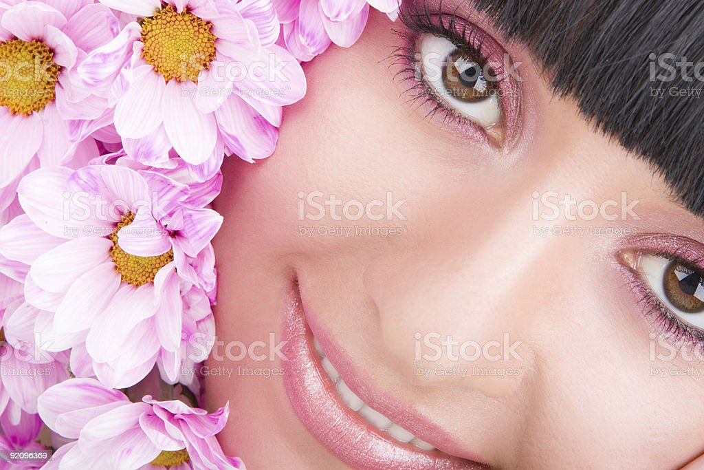 Young woman with flowers royalty-free stock photo