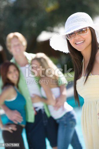 istock Young Woman with Friends Outdoors 512475383