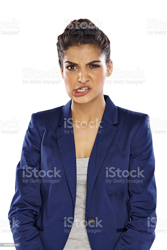 Young woman with funny facial expression royalty-free stock photo