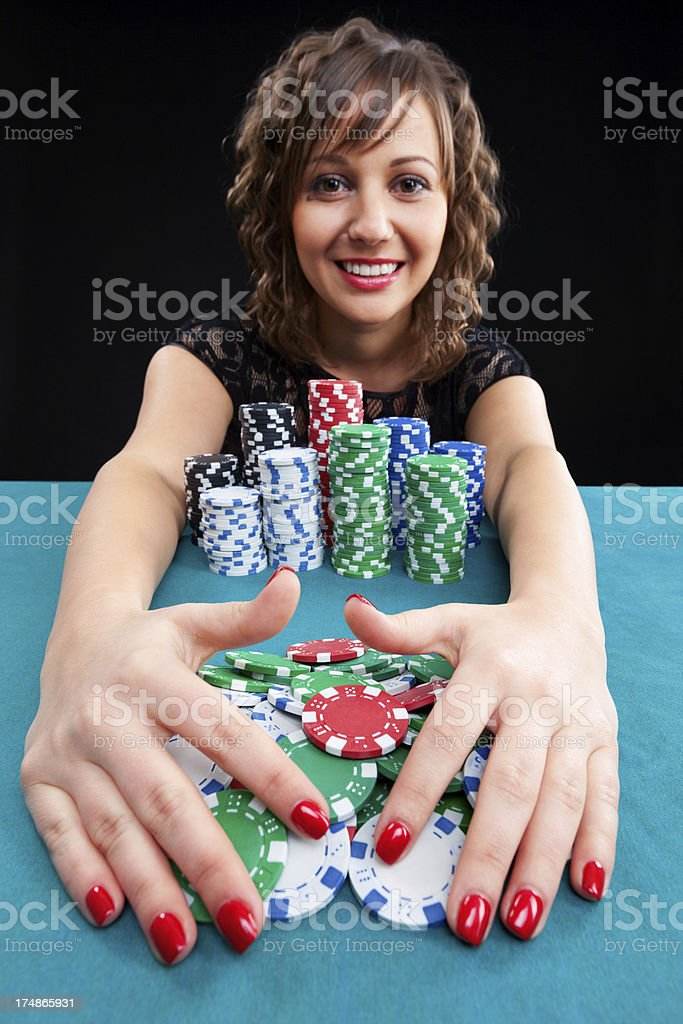 Young woman with gambling chips royalty-free stock photo