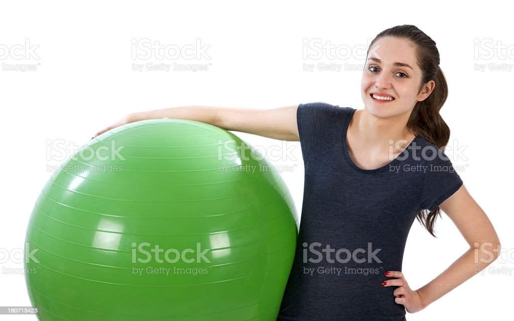 Young woman with gymnastic ball royalty-free stock photo