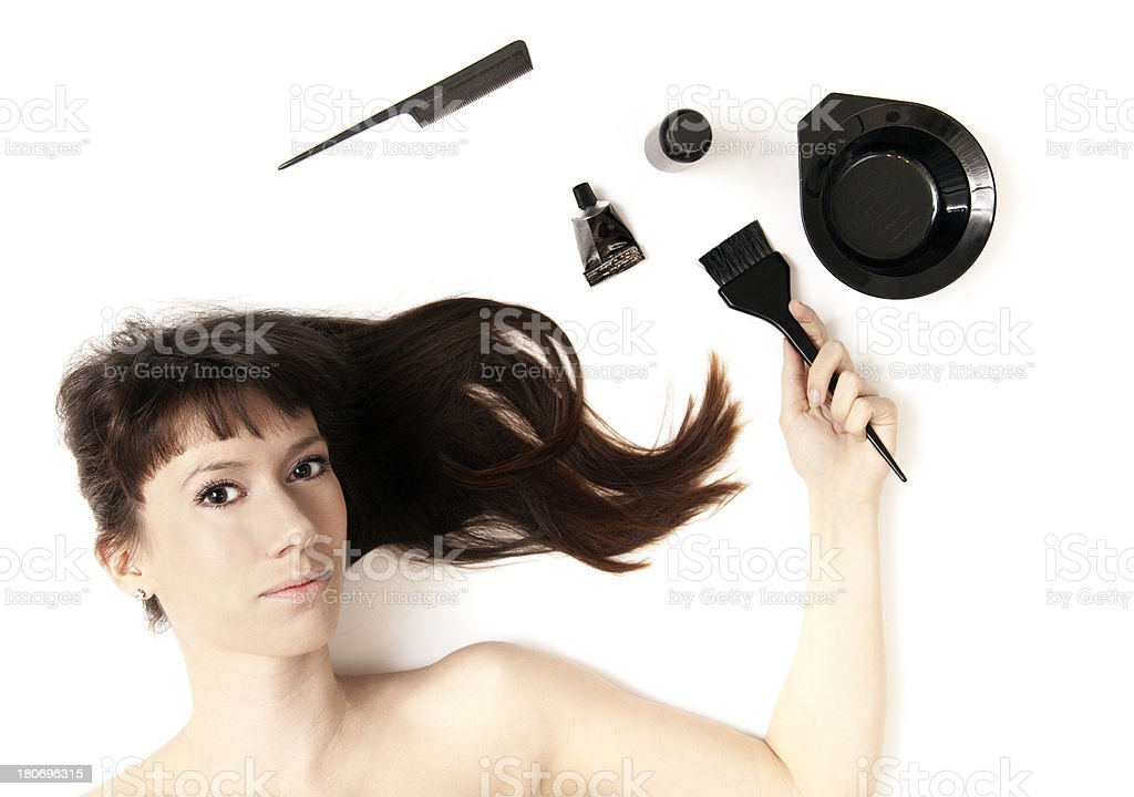Young woman with hair dye tools royalty-free stock photo
