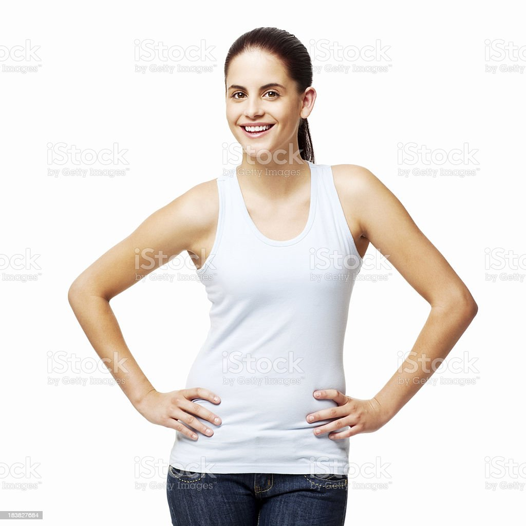 Young Woman with Hands on Her Hips - Isolated stock photo