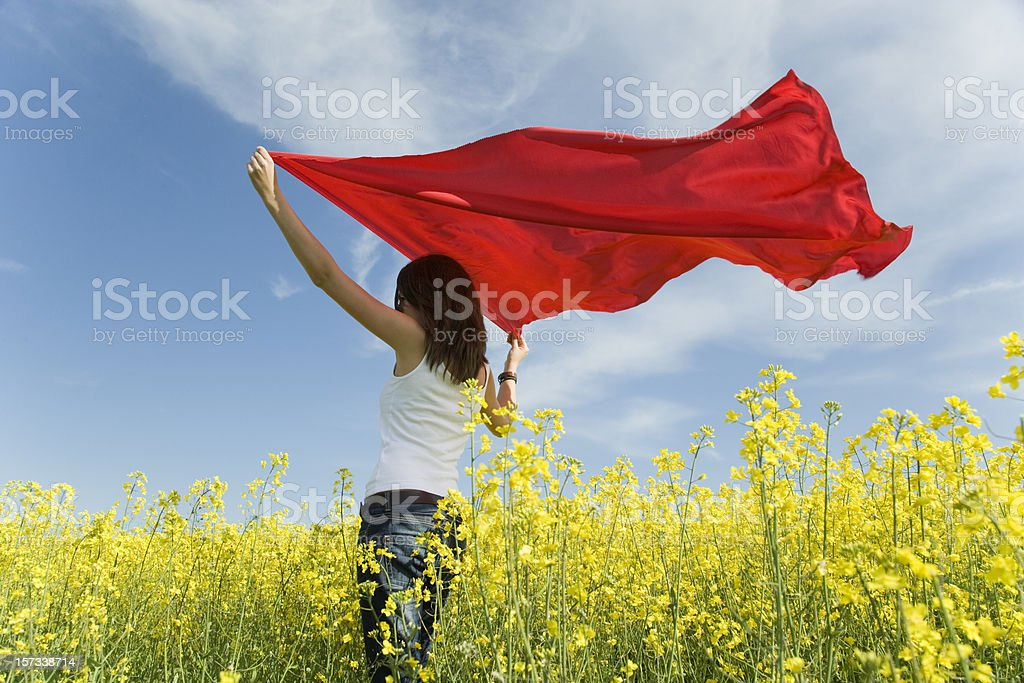 Young woman with hands up holding red shawl in wind royalty-free stock photo