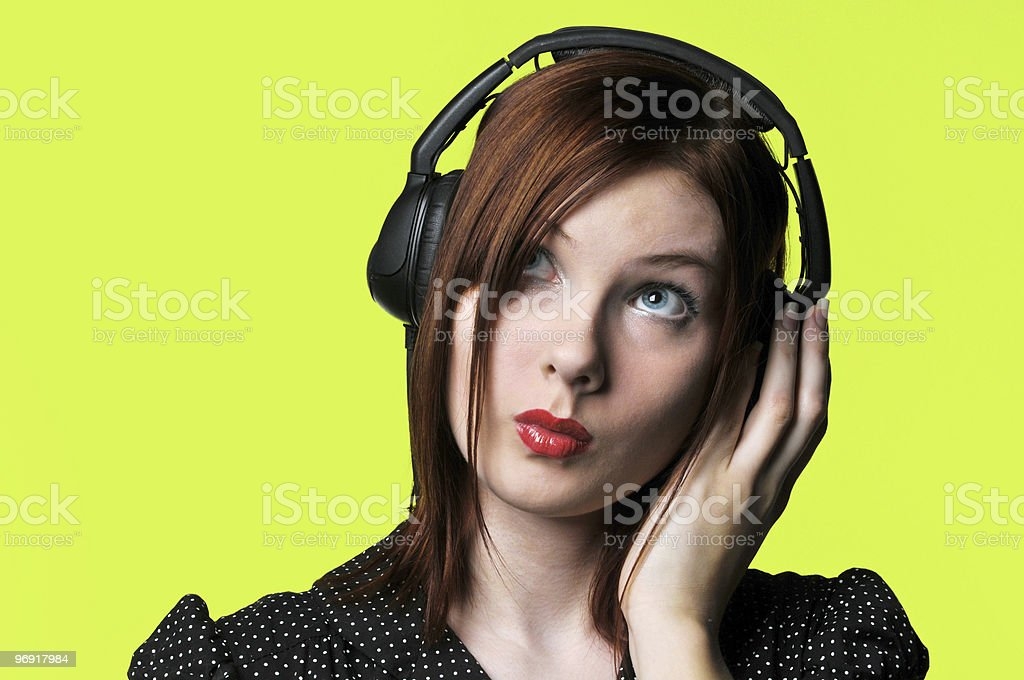 Young woman with headphones royalty-free stock photo
