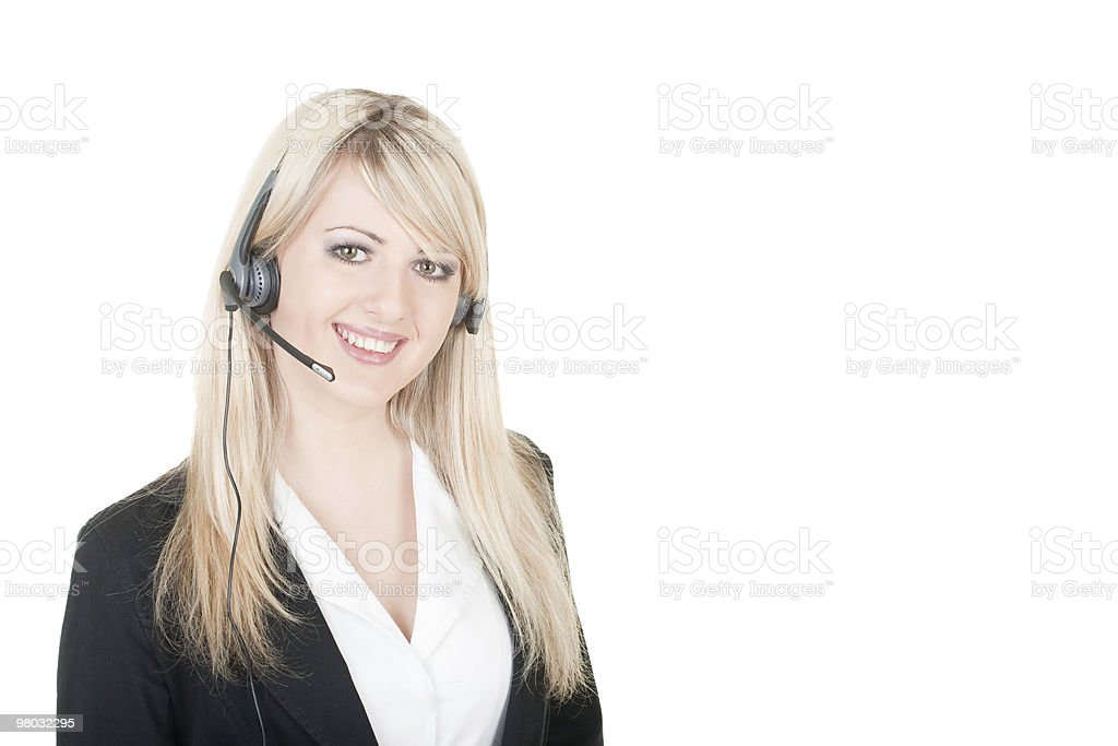 young woman with headset royalty-free stock photo