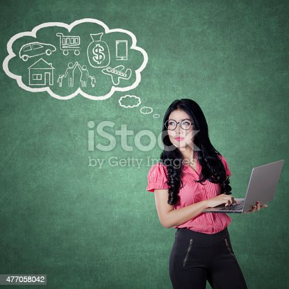 481974106istockphoto Young woman with her dreams 477058042