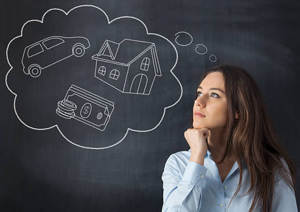 young woman with her dreams - thought bubble stock photos and pictures