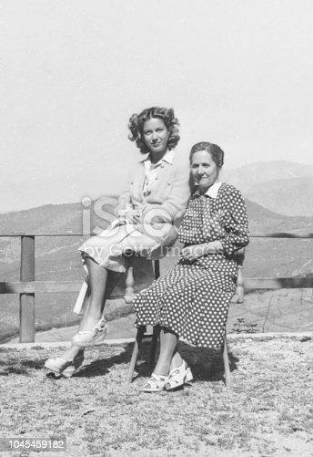 1934 Young woman with her grandmother, black and white photography