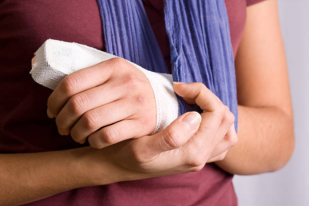 Young Woman With Injured Hand stock photo