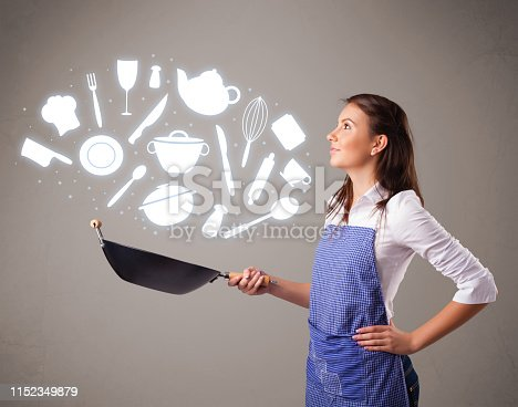 Pretty young lady with kitchen accessories icons