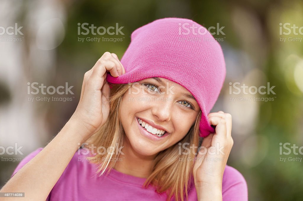 Young Woman with Knit Cap stock photo