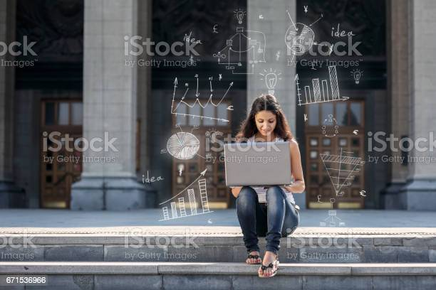 Young woman with laptop sitting on the stairs near university picture id671536966?b=1&k=6&m=671536966&s=612x612&h=hcl4binfzcuoapkt 52t0oxdrgjgeg a1ovg1hzyfeg=