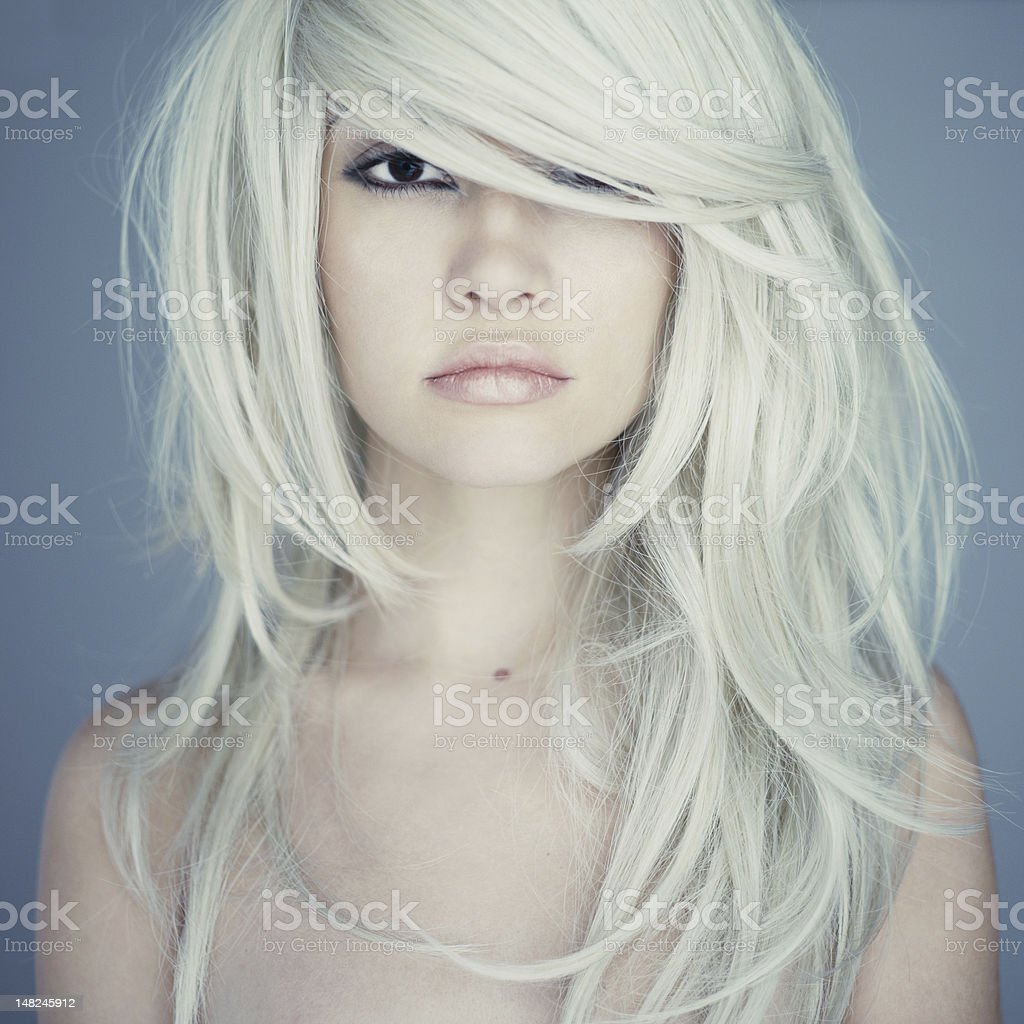 Young woman with light blond hair stock photo