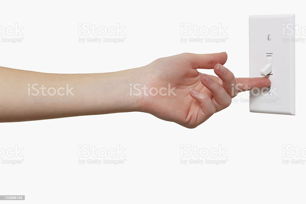 Young Woman with Light Switch Isolated on White Background royalty-free stock photo